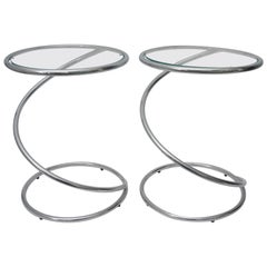 """Pair of Round """"Spring"""" Tables in Polished Chrome and Glass"""