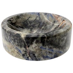 Italian Marble Bowl or Vide Poche Blue Lapis Colored Gray White Veined Marble