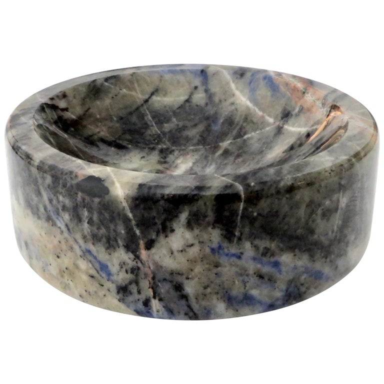 Italian Marble Bowl or Vide Poche Blue Lapis Colored Gray White Veined Marble For Sale