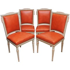 Set of Four Louis XVI Style Polychrome Chairs