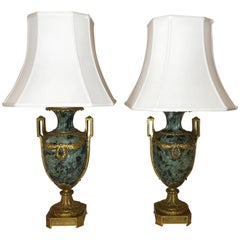 Antique French Verde Marble and Ormolu Lamps, circa 1850-1860