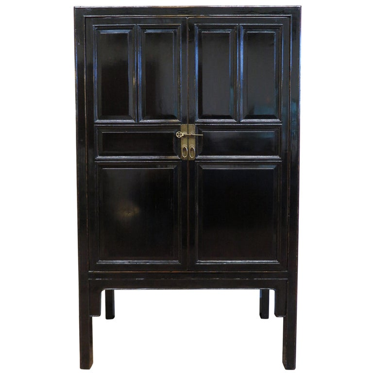 Chinese Black Lacquer Cabinet For Sale