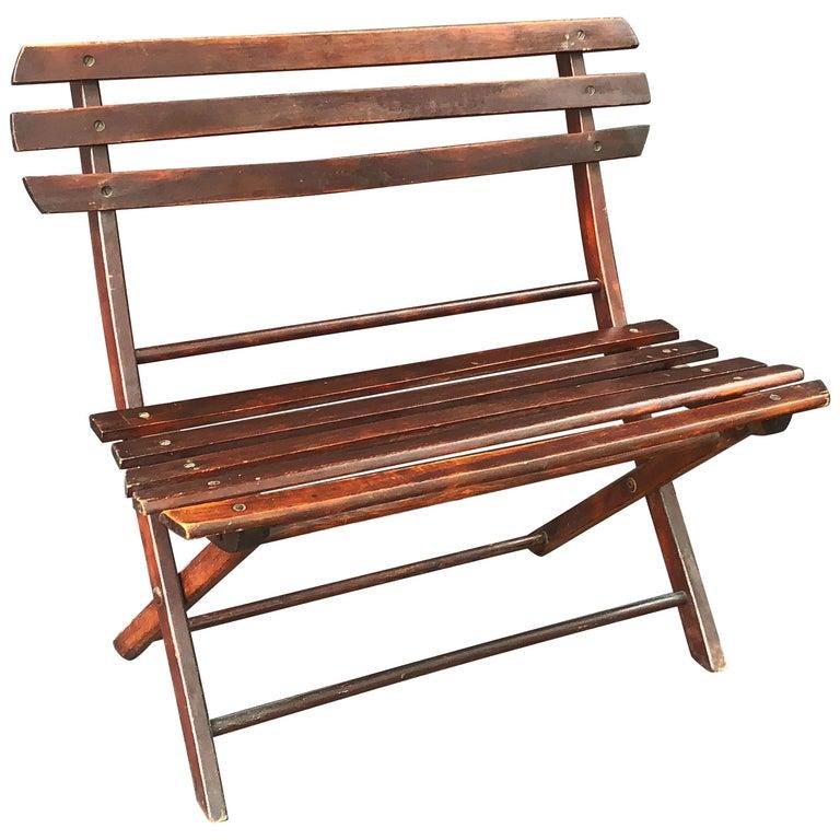 English Child's Folding Slatted Bench