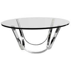 Roger Sprunger Style Cocktail Table by Tri-Mark in Chrome