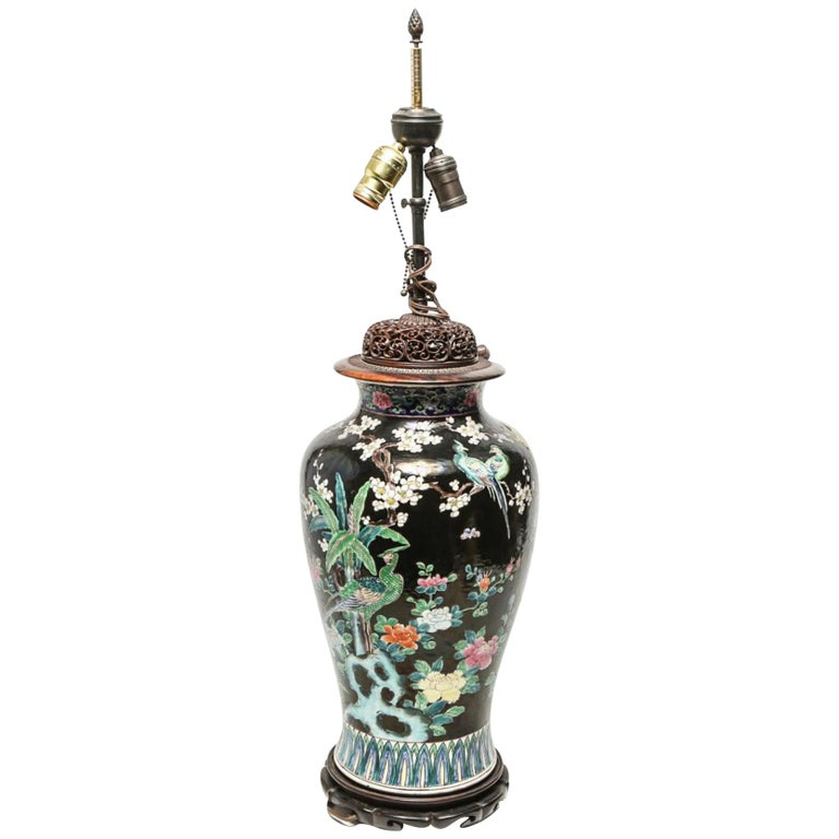 Chinese Famille Noire Porcelain Floral Motif Balluster Jar Mounted as Table Lamp