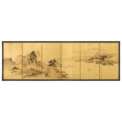 Six-Panel Folding Screen, Mountain and River Landscape