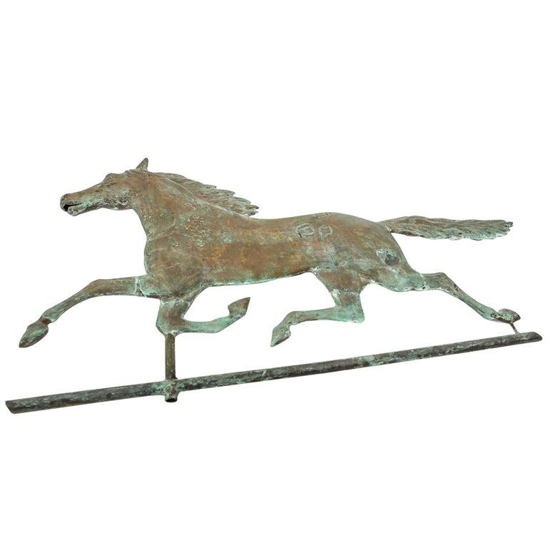 American Folk Art Copper Horse Weathervane In Ethan Allen Manner For