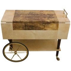 Bar Cart in Goatskin and Polished Brass