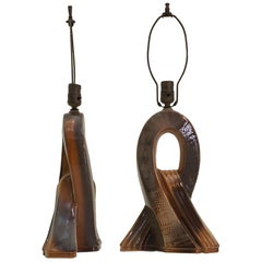 Pair of Art Deco Ceramic Table Lamps with Ribbon Motif