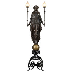 Lifesize 19th Century French Patinated Bronze Figural Torchere Lamp