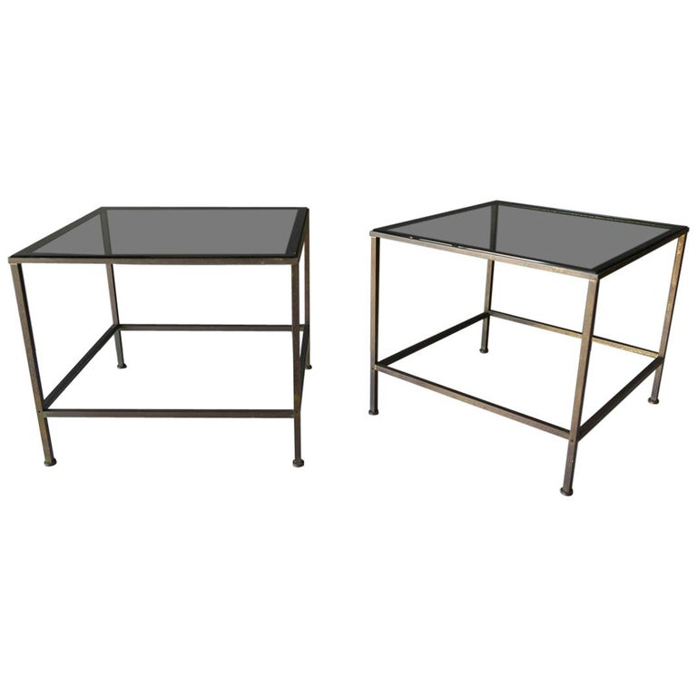 Pair of Smoked Glass and Brass Side or End Tables, circa 1970