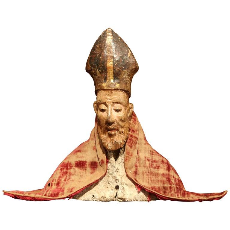 17th Century Spanish Carved Walnut Polychrome Bishop Bust with Velvet Cassock