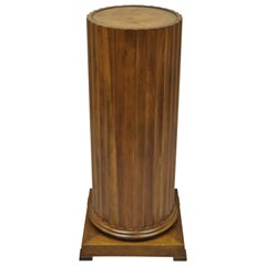 Baker Furniture Fluted Column Cherry and Burl Wood Top Pedestal Plant Stand