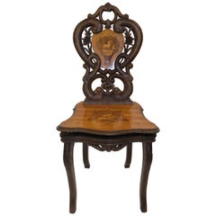 Antique Swiss Caved Music Chair, circa 1880-1890