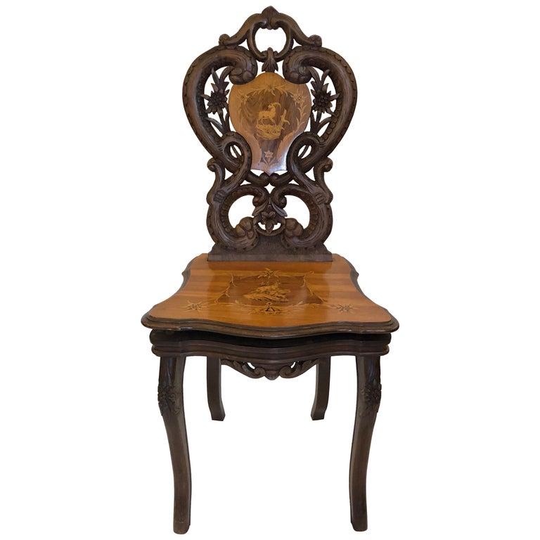 Antique Swiss Caved Music Chair, circa 1880-1890