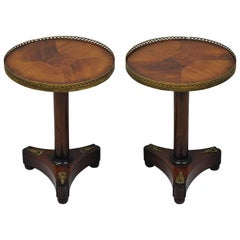 French Empire Neoclassical Style Small Round Taboret Pedestal Side Tables, Pair