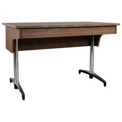 Mid-Century Modern Compartment Desk Faux Wood Laminate Chrome Aluminium