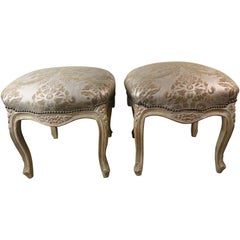 Pair of Giltwood Fortuny Upholstered French Benches