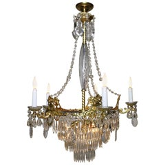 French 19th Century Neoclassical Revival Style Gilt-Metal & Cut-Glass Chandelier
