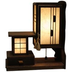 Handmade Japanese Wooden Accent Lamp