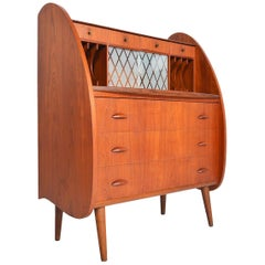Danish Modern Atomic Teak Secretary Desk