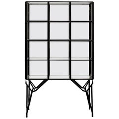 Showcase Cabinet in Warm Rolled Steel with Glass Panels, Handmade in Netherlands