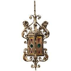 Antique Iron and Stained Glass Lantern from Dijon France, circa 1910