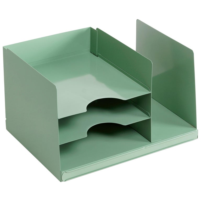 Space Age Desktop File Holder Refinished In Sage Green