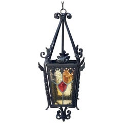 French Iron Neo-Gothic Lantern with Stained Glass, circa 1880