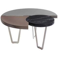 From Above Table with Black Marquinia Marble and Lacquered Wood, Made in Italy