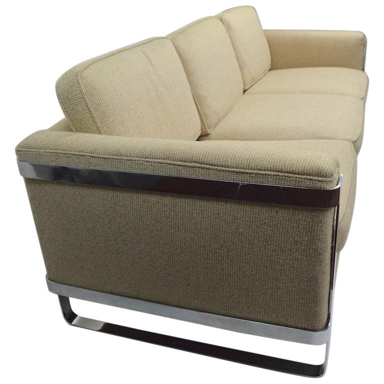 Large Chrome Strap and Tweed Sofa Attributed to Baughman For Sale