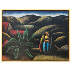 Oil Painting of Two Kids Lost in Mexico Mountains