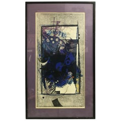 "Hodaka Yoshida Japanese Woodblock Print ""Cause, Blue"""