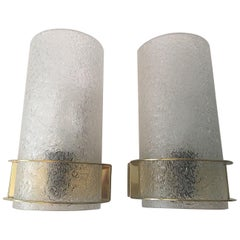 Nice Pair of 1960s Ice Glass Sconces by Doria Leuchten