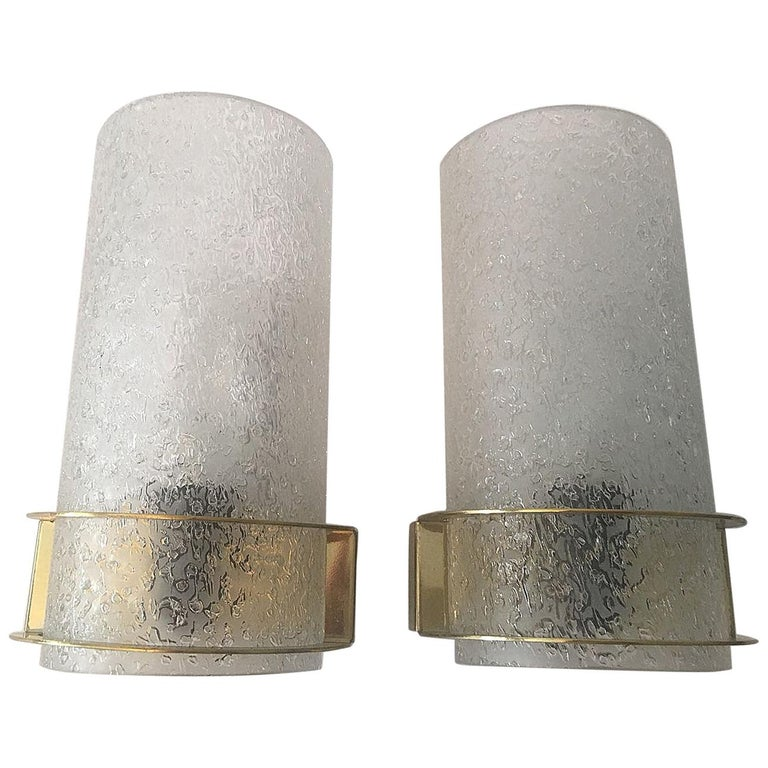 Nice Pair of 1960s Ice Glass Sconces by Doria Leuchten For Sale