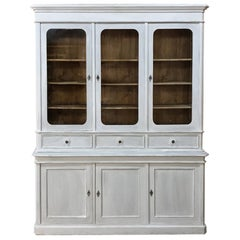 19th Century French Louis Philippe Period Painted Triple Bookcase