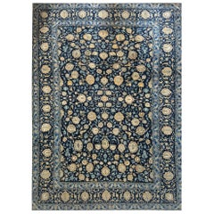 Vintage Persian Hand Knotted All over Floral Blue Kashan Rug