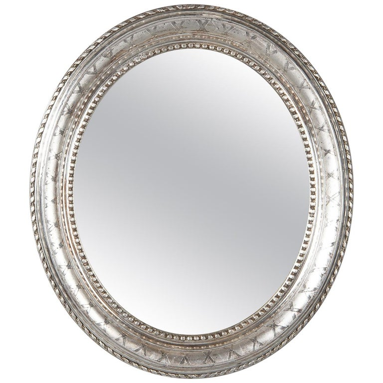 French Louis Philippe Oval Silver Leaf Mirror, 1850s