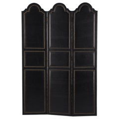 French Leather and Brass Screen by Pierre Gautier, 1950s