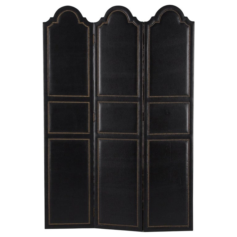 French Leather and Brass Screen by Pierre Gautier, 1950s For Sale