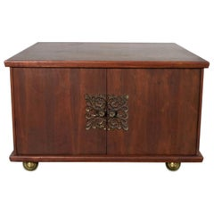 Square Midcentury Walnut Rolling End Table Storage Cabinet on Brass Ball Caster