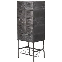 French Midcentury Industrial Polished Steel File Cabinet