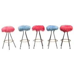 Five Colored Lambskin Bar Stools, Germany, 1950s