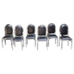 Jet Set Style Dining Chairs with Bottega Veneta Leather