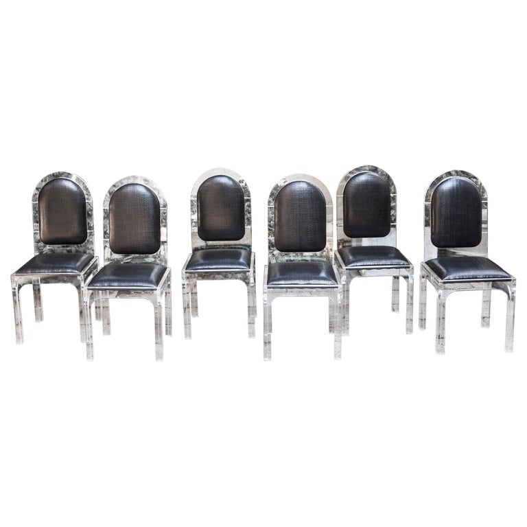 Jet Set Style Dining Chairs with Bottega Veneta Leather For Sale
