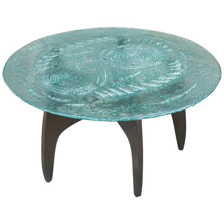 Heinz Lilienthal Sculptural Glass Top Coffee Table, Germany, 1960s For Sale