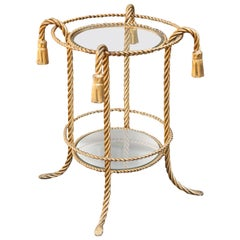 Hollywood Regency Gilt Metal Rope Tassel Side Table, Italy, 1960s