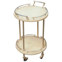 Aldo Tura Small Cream Goatskin Serving Cart