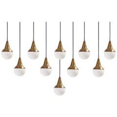 Set of Ten Pendant Lights in Brass, Italy, 1950s