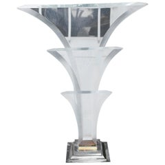 Maison Jansen Hollywood Regency Monumental Lucite Fontaine Table Lamp